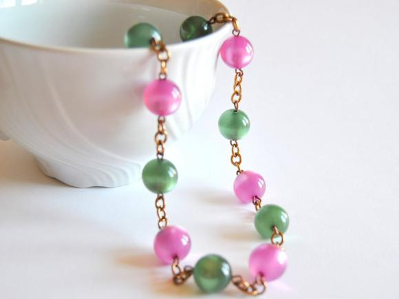 Necklace with green and pink beads